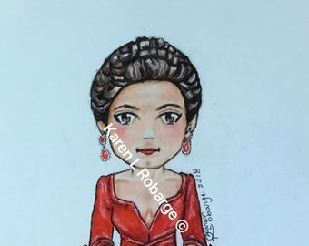 Limited edition cartoon version of Claire's red dress.