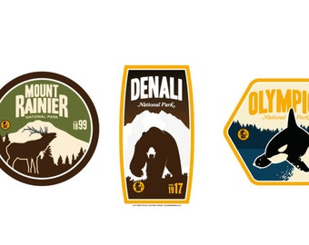 Northwest National Park Sticker Collection (Mount Rainier, Denali, Olympic)