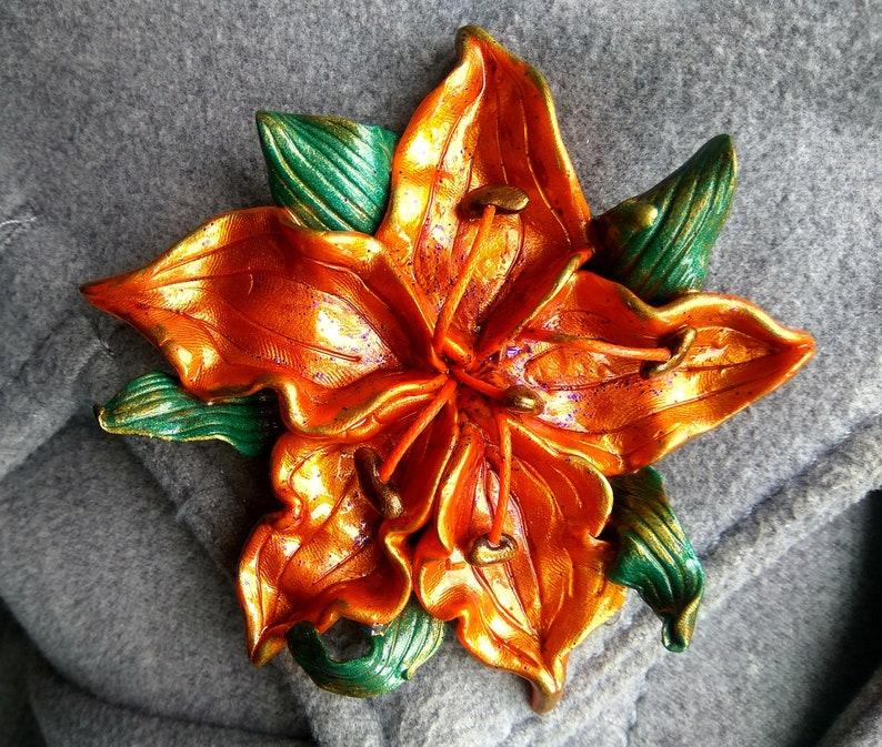 polymer clay brooch-Flowers jewelry-jewelry to coat-brooch to sweater lily polymer clay jewerly Orange lily polymer clay brooch