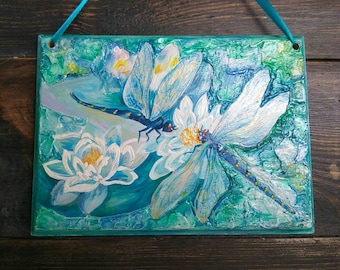 Wall art-Painted wall decor-Dragonfly-Lily-Wood wall panel art - Home decor-Wood decorations-Unique gift-Wall hanging-blue-green