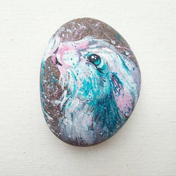 Weißes Kaninchen Bemalt Steine Bemalt Felsen Kaninchen Rock Gemalt Art Deko Innen Dekor Hase Kunst Hand Painted Kaninchen