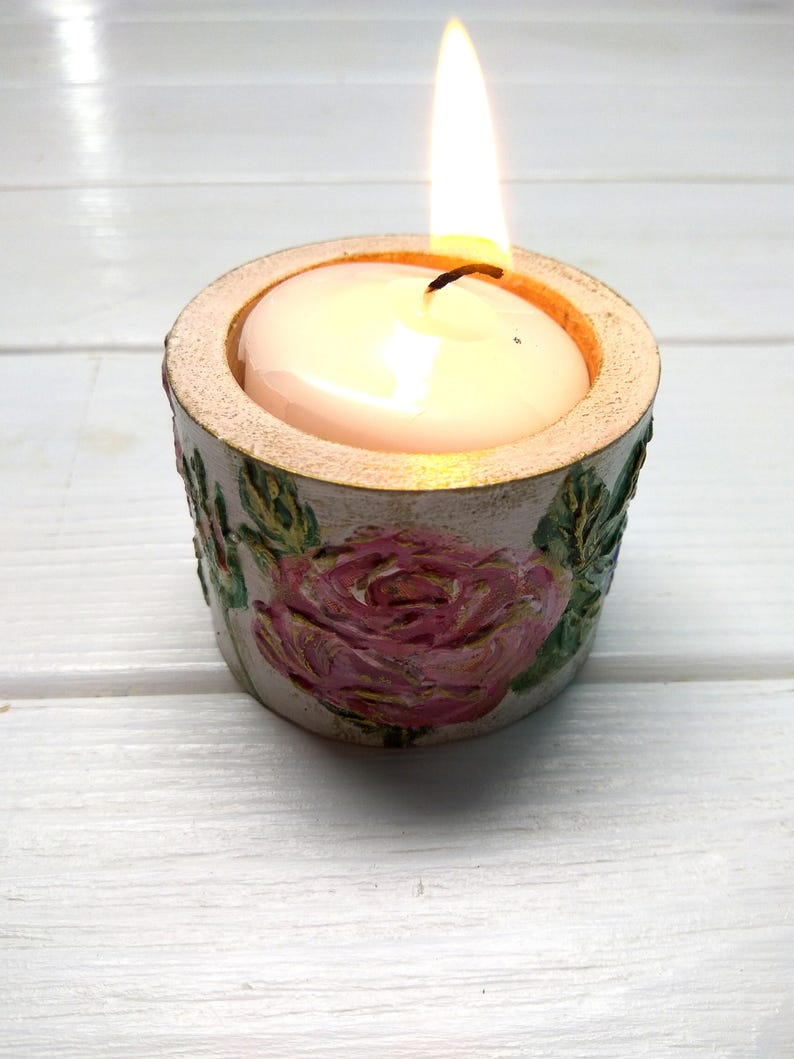 Wooden Candle Holders Home Decoration Roses Unique Gift Hand Made Tea Candlestick