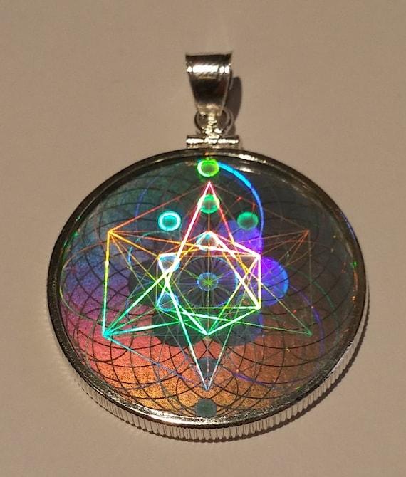 Emf protection sacred geometry hologram pendant sterling etsy image 0 aloadofball Choice Image