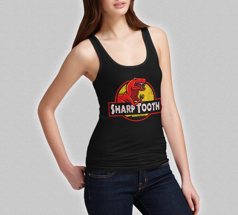 d353443f10059 Sharp Tooth Tank Top Land Before Time Funny Ladies Jurassic