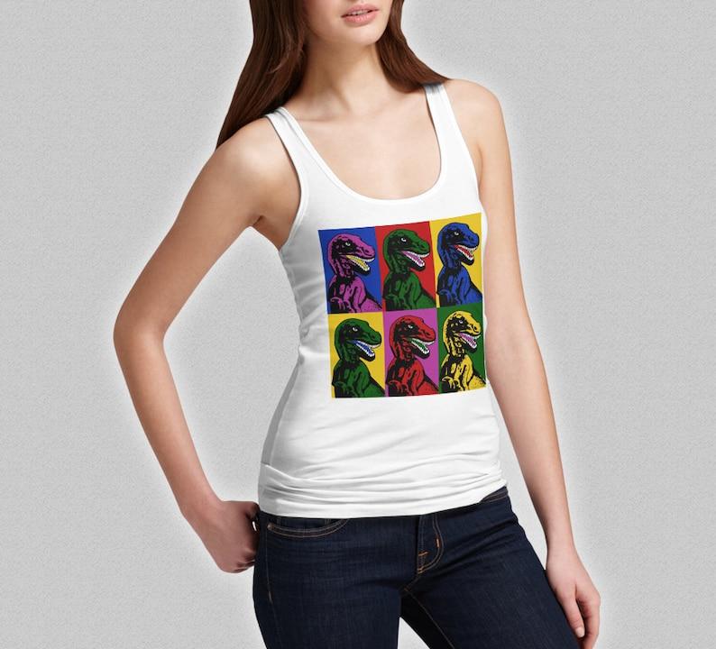 5a146450307ffa Dinosaur Tank Top - Ladies Dinosaurs Pop Art Fashion Tank - Girls Shirt Top  Jurassic Park Spielberg Dino T-Rex ...