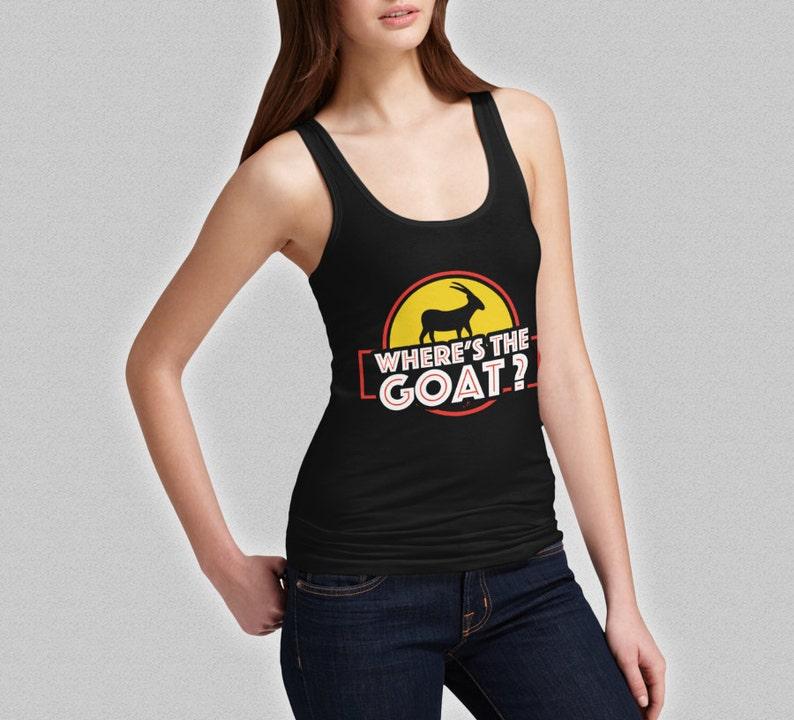 6db23703f6a2a5 Where s The Goat Tank Top Jurassic Park Tank Ladies