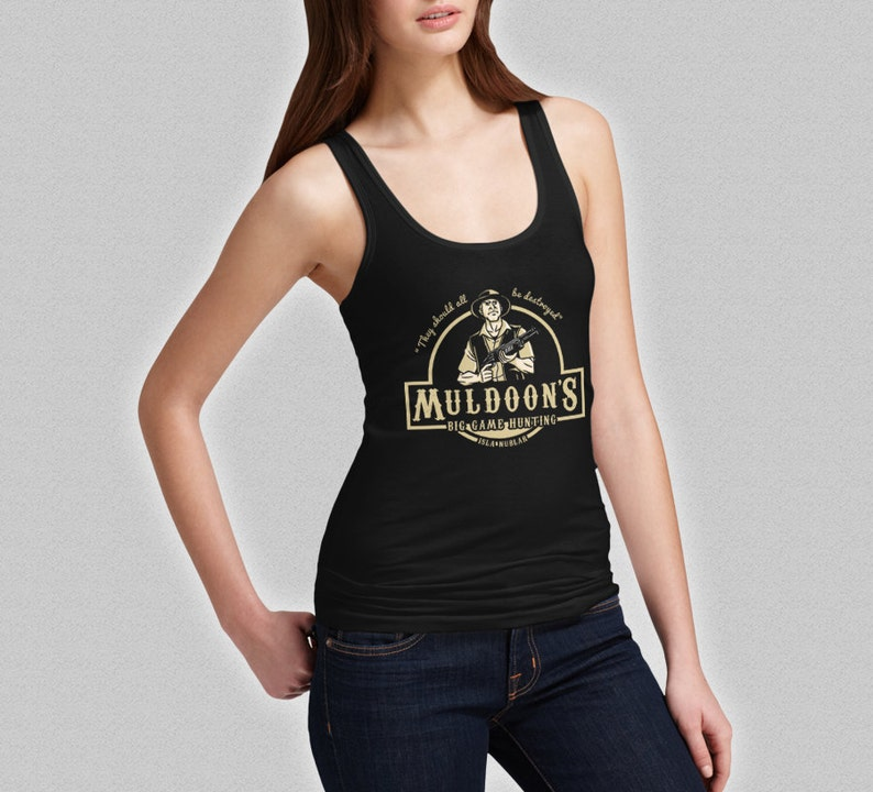 7a17d84cf345c Muldoon s Tank Top Big Game Hunting Ladies Jurassic Park