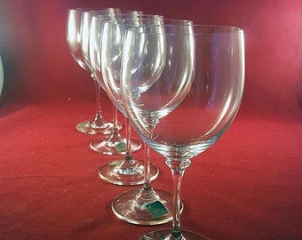 644797094ba Mikasa Long Stemmed Translucent Gray Crystal Wine Glasses