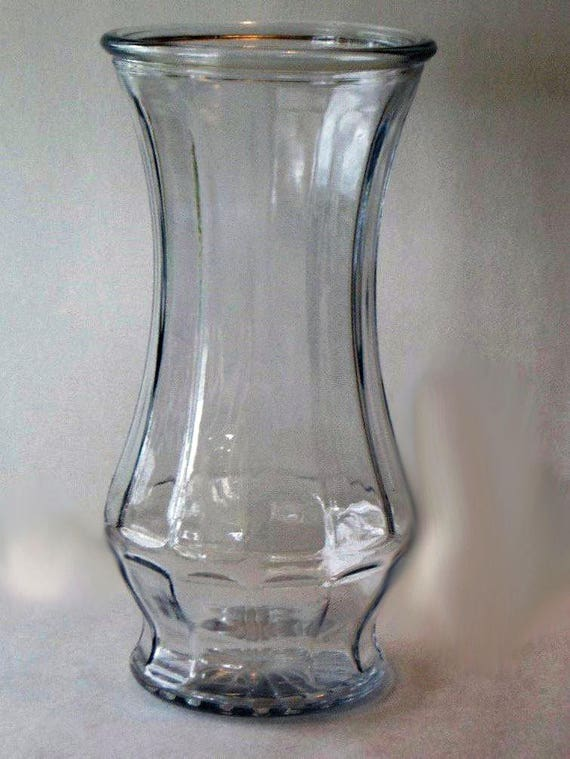 Saleoted And Faceted Clear Glass Vase Etsy
