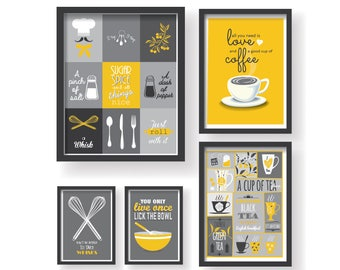 Mustard Yellow Gray Kitchen Poster Set, Yellow Gray Kitchen Decor, Yellow  Kitchen Wall Art, Kitchen Prints, Kitchen 5 Set, Kitchen Posters
