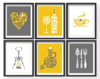 Superieur Yellow Kitchen Prints Yellow Kitchen Decor Yellow Gray Kitchen Wall Art Set  Of 6 Prints Modern Kitchen Decor Dining Room Kitchen Print Set