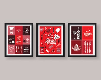 red kitchen decor red kitchen wall art kitchen prints kitchen art red kitchen poster set set of 3 prints red dining room decor funny prints - Red Kitchen Decor