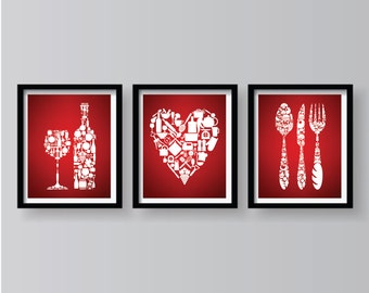 Red Kitchen Wall Decor Dining Room Art Poster Modern Home