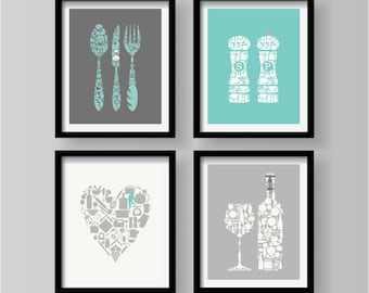 Incroyable Gray Kitchen Wall Art, Dining Room Art, Teal Kitchen Decor, Gray Kitchen  Poster, Teal Kitchen Art, Teal Dining Room Wall Art,Set Of 4 Prints