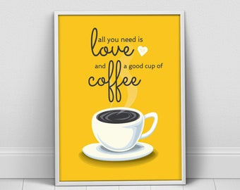 Items Similar To Red Brown Caffeine Poster Red Kitchen Wall
