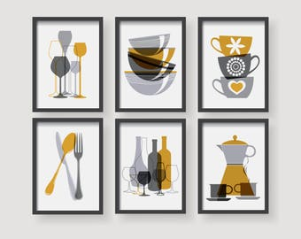 Modern Mustard Yellow Kitchen wall art, Yellow kitchen decor, Kitchen decor  set, set of 6 prints, Kitchen prints, Modern kitchen, yellow set