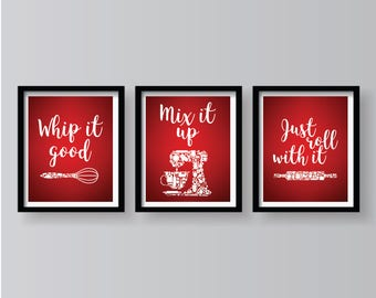Red Kitchen Decor Etsy