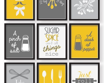 Gray Mustard Yellow Kitchen Decor Poster Set, Set of 9 prints, Kitchen wall  art, Kitchen decor, Kitchen prints, yellow dining room decor