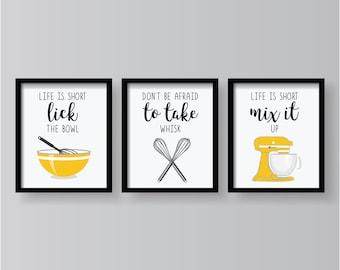 Yellow Kitchen Decor Etsy