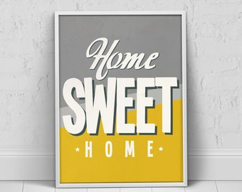 Yellow Gray Home Sweet Home Poster, Yellow Kitchen Decor, Gray Yellow Home  Decor, Yellow Prints Art, Yellow Poster, Yellow Home Quote Poster
