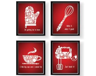 Red Kitchen Decor Etsy