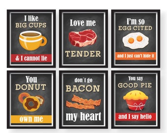 Genial Spring Sale   6 Set Funny Kitchen Song Series   Kitchen Decor   Kitchen  Posters   Kitchen Prints   Chalkboard Vintage Background Kitchen Art