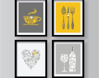 Yellow Kitchen Decor Kitchen Wall Art, Mustard Yellow, Kitchen prints,  Yellow Gray Decor, Kitchen prints, Set of 4 Prints, Yellow Posters