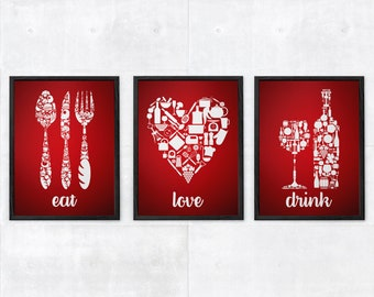 eat drink love red kitchen decor red kitchen wall art red kitchen art red kitchen poster red kitchen poster set of 3 prints red white - Red Kitchen Decor