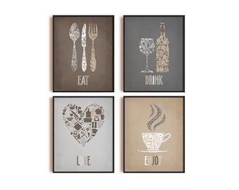 Kitchen Wall Decor, Kitchen Wall art, Kitchen Prints, Eat Drink Love Enjoy, Dining room Wall Decor, Dine room Wall art
