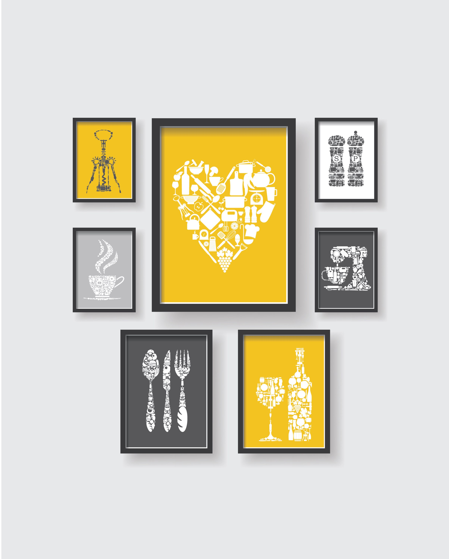 Mustard Yellow Kitchen Decor: Mustard Yellow Gray White Unique Kitchen Decor Collection