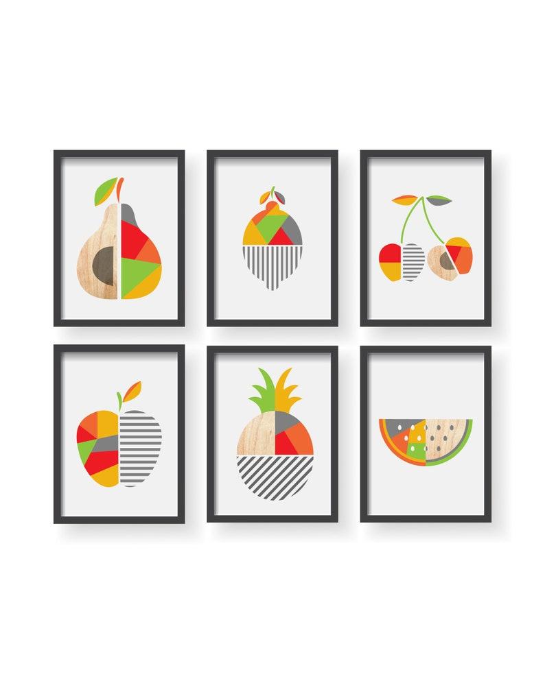 Geometrica Poster di cucina frutta frutta Geometric moderna | Etsy