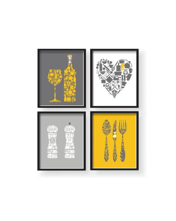 Yellow Kitchen Wall Decor, Yellow Gray Kitchen Wall art, Mustard Yellow  Gray Prints, Yellow Kitchen Prints, Yellow Dining room Wall Decor