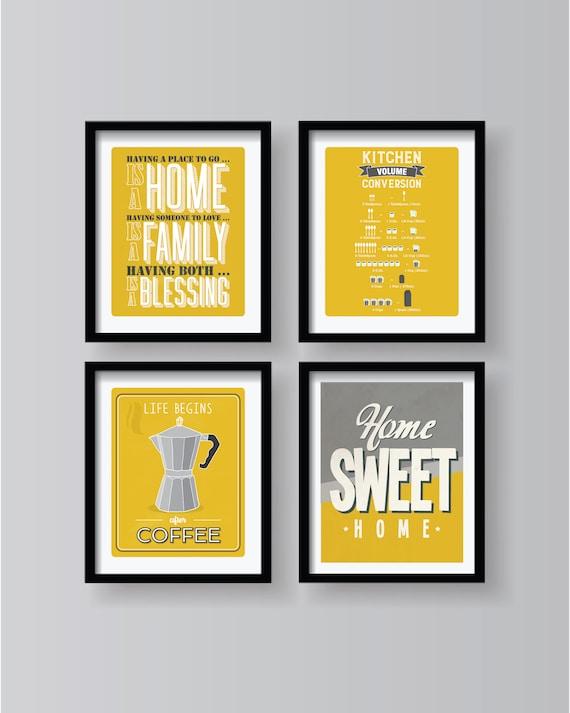 Senf Gelb Grau Weiß Poster Set Küche Dekor Sammlung | Etsy