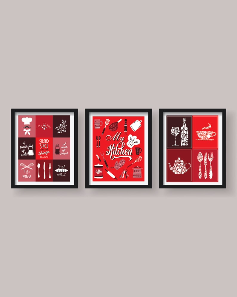 Red Kitchen Decor Wall Art Prints