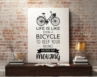 Black and White Bicycle Quote Art, Bicycle Quote Poster, Black and White Print Quote, Inspirational Bicycle Art Quote, Bike Quote, Bike art