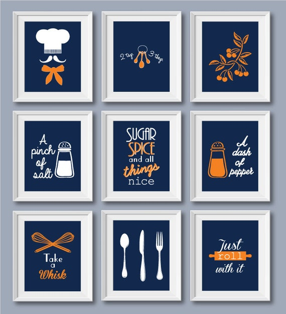 Blue Prints For Kitchen Funny Kitchen Quotes Blue Kitchen Prints Set Of 9 Dining Room Wall Art Blue Kitchen Art