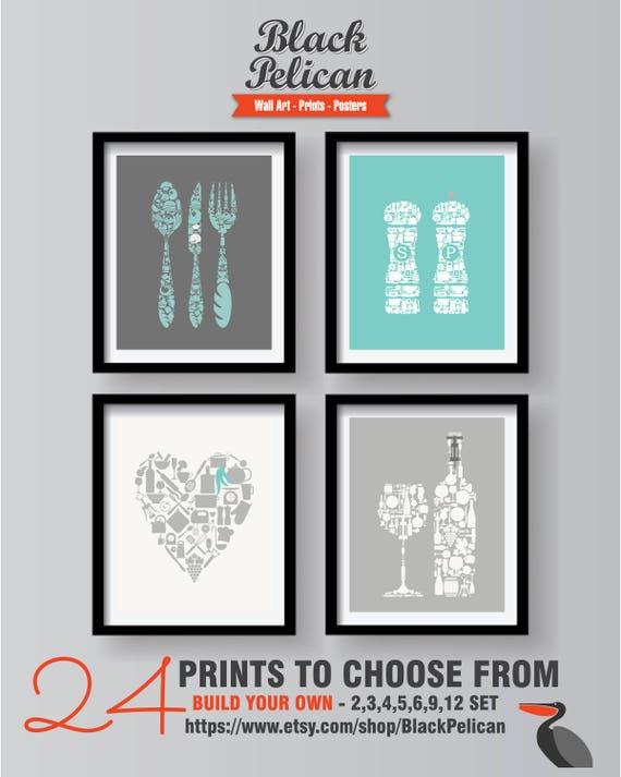Gray Kitchen Wall Art Dining Room Art Teal Kitchen Decor Etsy