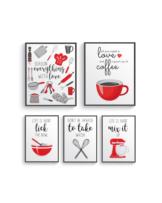 Red Gray Kitchen Wall Decor Red Gray Kitchen Wall Art Prints Set Red Kitchen Prints Modern Red Home Decor Red Gray Dining Room Decor