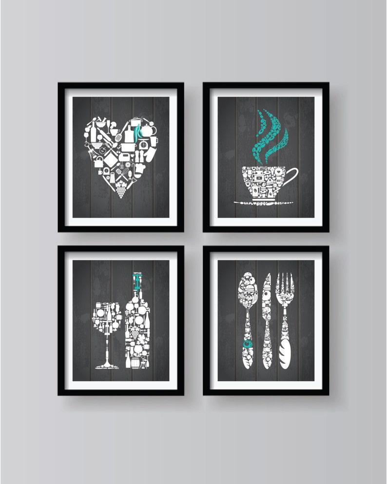Arredamento di cucina in grigio grigio cucina Wall Art | Etsy