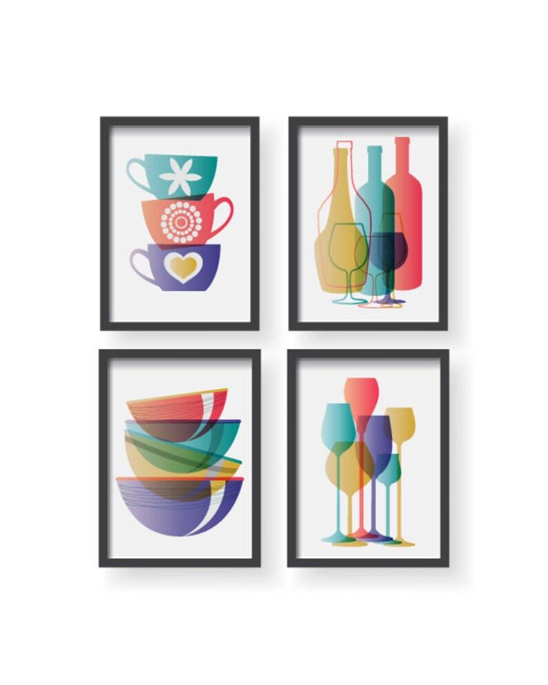 Purple Yellow Teal Modern Kitchen Poster Set Kitchen Decor Etsy