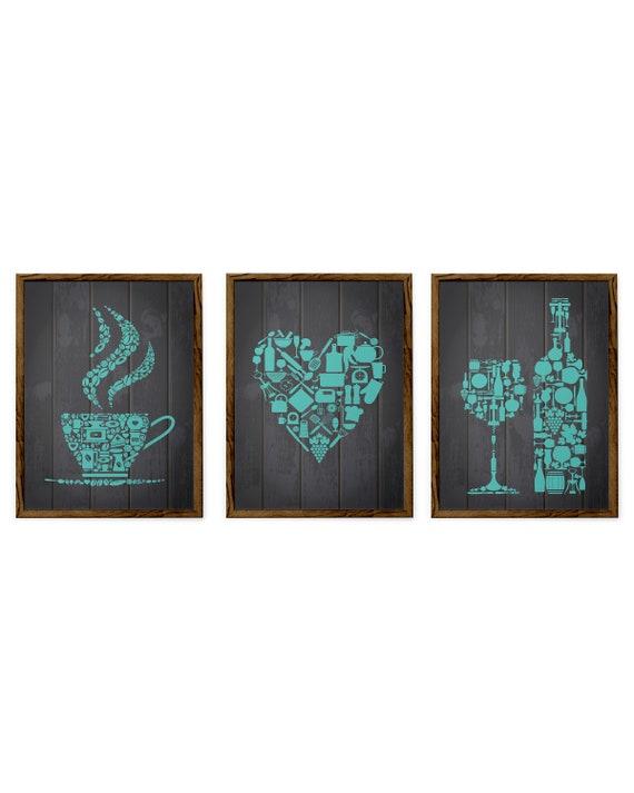 Turquoise Kitchen Decor Teal Kitchen Prints Kitchen Wall Etsy