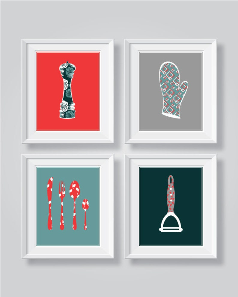 Red Gray Teal Kitchen Decor Teal Kitchen Wall Art Red Kitchen Decor Teal Red Kitchen Wall Art Funny Kitchen Prints Set Dining Room Art