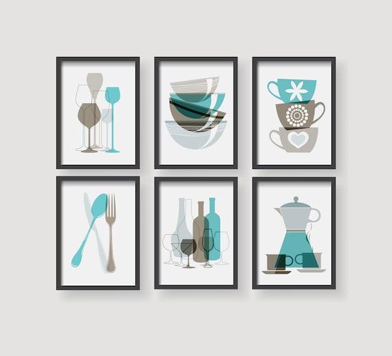 Turquoise Kitchen Accents: Turquoise Brown Kitchen Prints Kitchen Decor Kitchen Wall