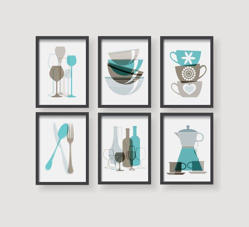 Turquoise Brown Kitchen Prints Kitchen Decor Kitchen Wall Art Set Of 6 Prints Modern Kitchen Decor Brown Decor Turquoise Kitchen Print Set
