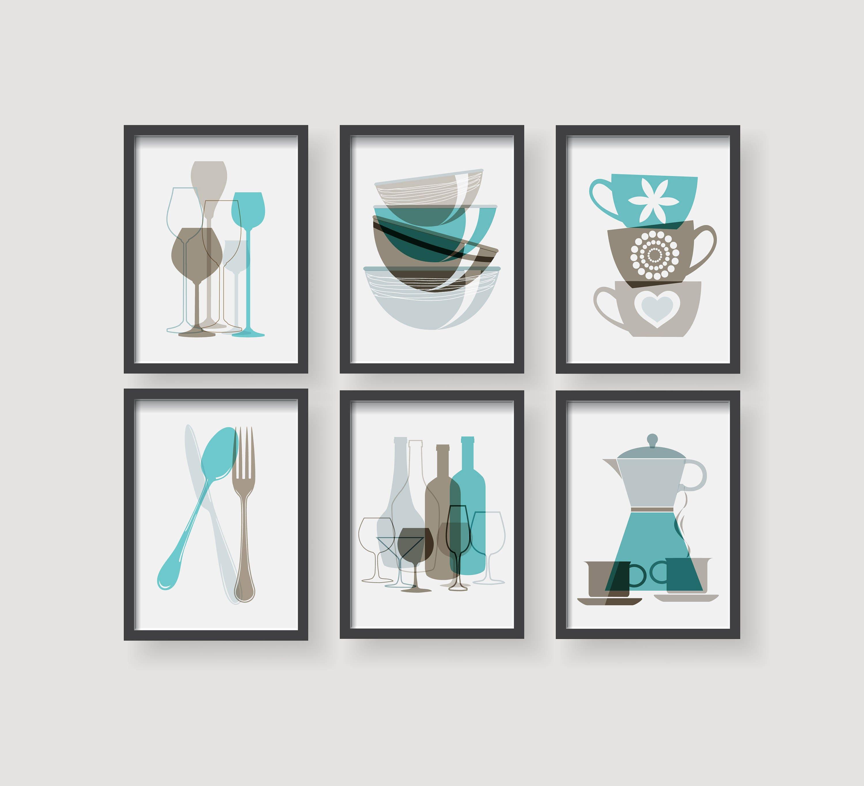 Kitchen Decor Turquoise: Turquoise Brown Kitchen Prints Kitchen Decor Kitchen Wall Art