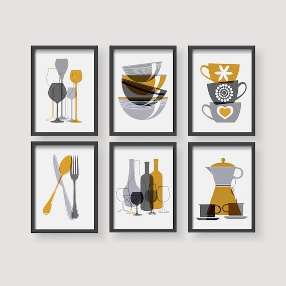 Modern Mustard Yellow Kitchen Wall Art Yellow Kitchen Decor