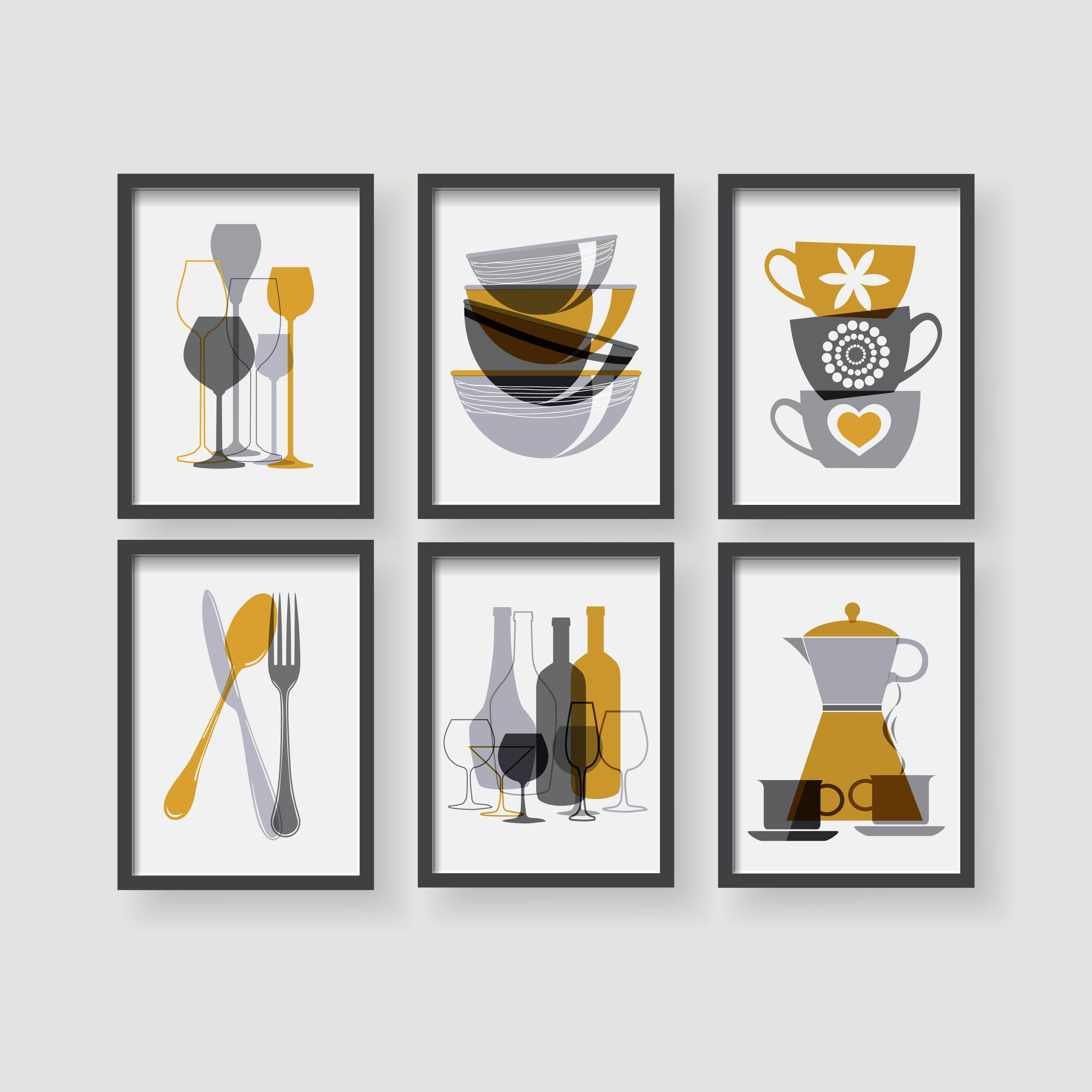 Yellow Kitchen Art: Modern Mustard Yellow Kitchen Wall Art Yellow Kitchen