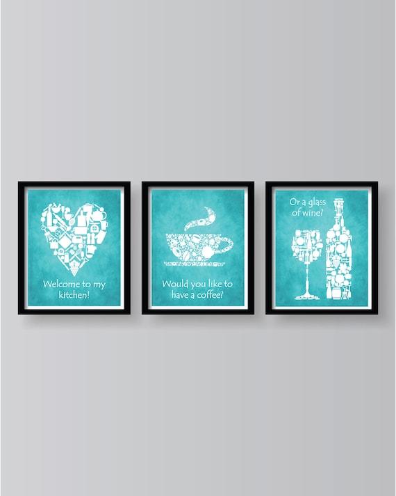 Blue Kitchen Prints Kitchen Wall Decor Kitchen print | Etsy