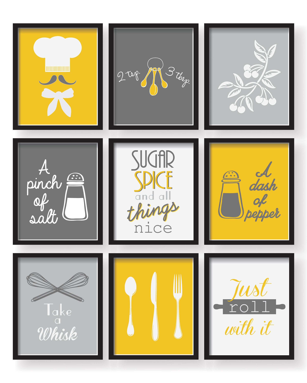 Mustard Yellow Kitchen Decor: Gray Mustard Yellow Kitchen Decor Poster Set Set Of 9