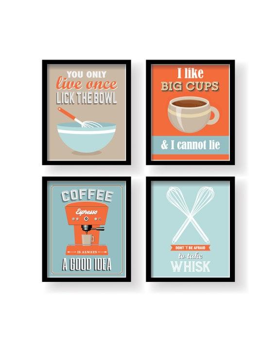 Orange Blue Kitchen Decor Kitchen Wall Art Kitchen Prints Set Of 4 Prints Kitchen Poster Orange Kitchen Poster Dining Room Wall Art